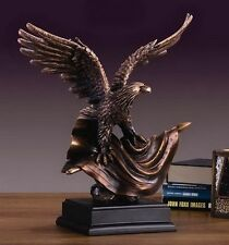 Flag & Eagle 14 x 15.5 Beautiful Bronze Statue / Sculpture Brand New