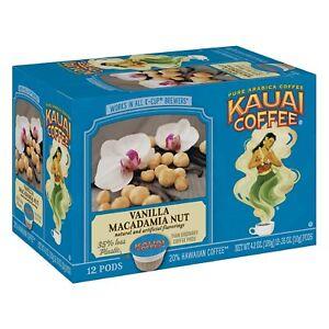 Kauai Coffee VANILLA MACADAMIA NUT Hawaiian 12 Ct K-Cup Pods Keurig *BB 2/2022*