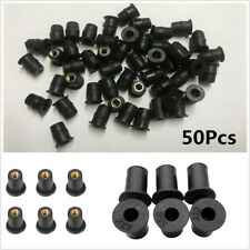 New 50Pcs M5 Black Rubber WellNut Motorcycle ATV Windscreen Well Nut Brass Nuts