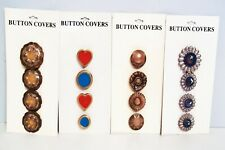 ~VINTAGE~FOUR CARDS~16 BEAUTIFUL METAL BUTTON COVERS~NOS~
