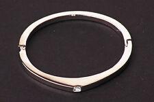 Fantastic modern de línea delgada de tono plata brazalete blanco Rhinestone Centro (zx21)