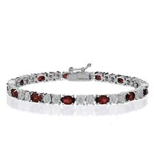 Sterling Silver African Garnet and Diamond Accent Oval Tennis Bracelet