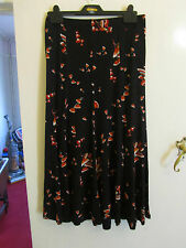 Black & Multicoloured Floral Stretchy Maxi Skirt by M&S in Size 10 - NWOT