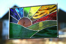 Handmade Stained Glass Suncatcher Rainbow Sunrise Sun set Present Gift
