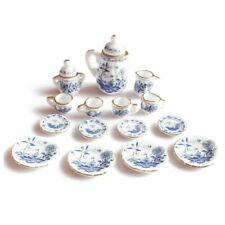 1X(1/12th Dining Ware China Ceramic Tea Set Dolls House Miniatures Blue Flow GN8