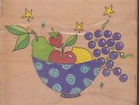 "star fruit bowl stampa rosa  Wood Mounted Rubber Stamp 4 1/2 x 3 3/4"" Free Ship"