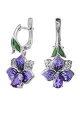 Zauberhafte Ohrringe mit Blüten Amethyst Email Sterlingsilber