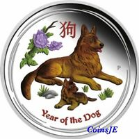 "2018 1 Oz .999 Silver coin Australian Lunar II ""Year of the Dog"" ( Colorized)"