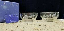 Avon hummingbird 24% crystal dessert bowls set of two Mint!
