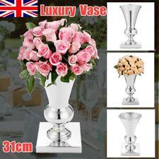 UK 31CM Stunning Silver Iron Luxury Flower Vase Urn Wedding Table Centrepiece