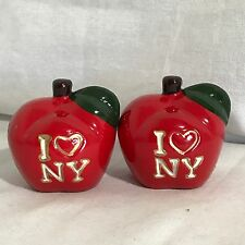 Vintage New York I Love NY The Big Apple Salt Pepper Shakers Red
