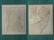 New Hampshire Vermont New Jersey Vintage Original Antique 1892 World Atlas Map