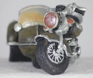 12cm MOTORCYCLE WITH SIDECAR MODEL - MOTORBIKE - VINTAGE - BIKER'S GIFT - RETRO