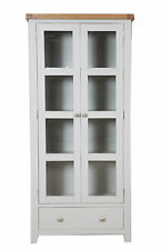 Canberra Grey/Chunky Rustic Oak Top Glazed Display Cabinet Fully Assembled