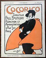 Arthur Michael cover Steinlen Red Cape Cocorico 1900 French Art Nouveau magazine
