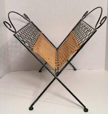 "Vintage Metal & Rattan/ Wicker Magazine Rack Holder- Folds Flat- 17"" X 14"""