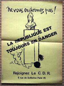 Affiche ancienne MAI 68 CDR Comités de Défense pour la République De Gaulle