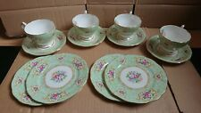 More details for gainsborough queen anne green floral bone china tea coffee set + saucer plates