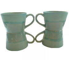 Anthropologie Mugs Joyye Ceramic Crackle Glaze Blue Teal Lot Of 4