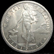 1944-D/S US Philippines 20 Centavos Silver Coin - Extremely Fine