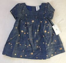 Baby Gap Baby Girl Chambray Dress With Stars & Diaper Cover 0-3 Months NWT