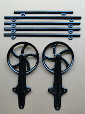 Vintage Large Barn Door Rollers Cast Iron w/ 5 Sections Original Track 9' Long