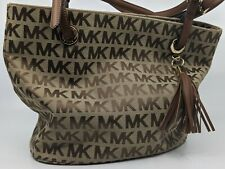 Michael Kors Beige and Brown Canvas Tote Handbag/Purse with Logo