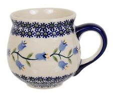 "~Polish Pottery~Belly/Bubble Mug 10oz ""Lilly of the Valley"" Handmade Manufaktura"