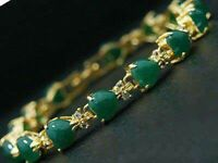 Women 7.5 inch Bracelet 18K Gold Plated Jade Zircon Turquoise Heart Wear Jewelry