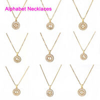 Necklace Gold Plated Round Initial Alphabet/ Letter Message Clear Rhinestone