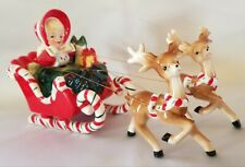 VINTAGE 1956 GEO LEFTON CHRISTMAS SHOPPING GIRL ON SLEIGH W REINDEER