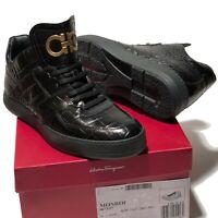 NIB Ferragamo Crocodile 9 EE 42 Embossed Gancini Leather Sneakers Men's Boots