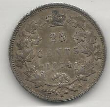 CANADA,  1874-H,  25 CENTS,  SILVER,  KM#5,  EXTRA FINE-ALMOST UNCIRCULATED