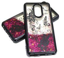 for LG Stylo 4 - Black Chrome Butterfly Rose Hot Pink Glitter Liquid Case Cover