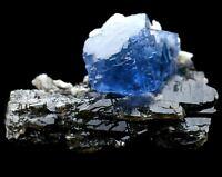 102.3g Rare Blue Fluorite & White Flake Calcite Crystal Mineral Specimen/China