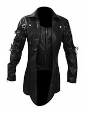 Mens Goth Matrix Trench Coat Steampunk Gothic Leather Jacket Black Brown Red T18