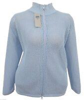UK SELLER Women's Size 16-24 Blue Knit Zip Jacket Turtle Neck Cardi Top *LICK*