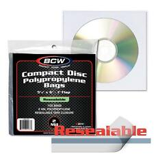 "100 BCW Resealable CD  Bags - 5 1/8 x  5 + 1"" Flap - Compact Disc Sleeves"