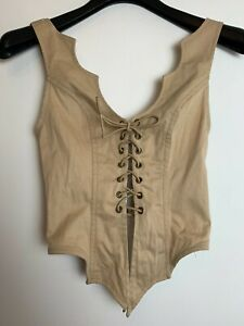 Deviations Vintage 00s 90s Y2K Female Beige Sleeveless Tank Top Size S Made USA