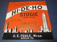 Original Old Antique Hi-De-Ho - Inner Cigar Label - New York Skyline - Berlin Pa