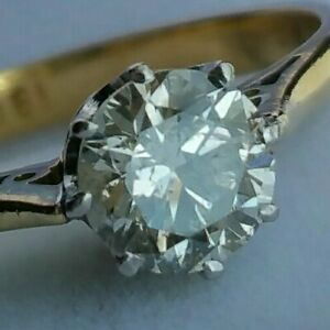 18Ct Gold 0.55Ct Sparkly Diamond Solitaire Ladies Engagement Dress Ring