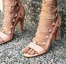 NEW Free People Sixty Seven Dusk To Dawn Lace Up Sandal Pump in Taupe 38 Spain