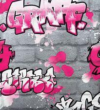 Pink Silver Graffiti Brick Wall Feature Teenage Girls Wallpaper 237818 Rasch