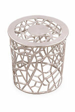 JEWEL Round Metal Accent Table in Silver Ornamental Filigree Pattern