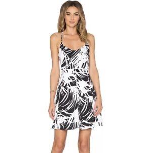 Parker Marigold Dress M Cordoba Black White Print Fit Flare A Line Women's NWT