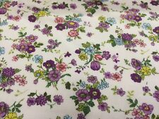 Subtle Lilac Floral/Flowers 100% Cotton Poplin Printed Fabric.