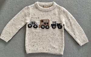 BNWOT NEXT Boys Knitted Beige Jumper Vehicle motif Size 2-3 Years