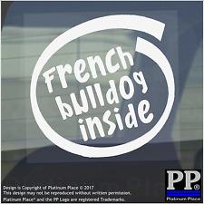 1 x BULLDOG FRANCESE inside-window, Auto, Furgone, autoadesivo, Firmare, Adesivo, CANE, PET, sul bordo,