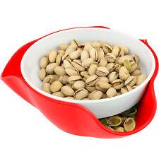 Red Double Dish Pedestal Serving Snack Bowl Peanuts Pistachios Cherries Edamame