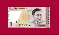 KYRGYZSTAN UNC BANKNOTE: 1 SOM 1999 (P-15) - Musician A. Maldybayev / Instrument